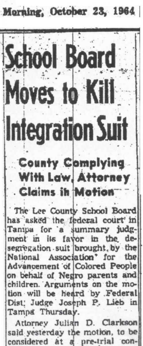 HEADLINE: School Board Moves to Kill Integration Suit | SUB-HEADLINE: County Complying With Law Attorney Claims in Motion