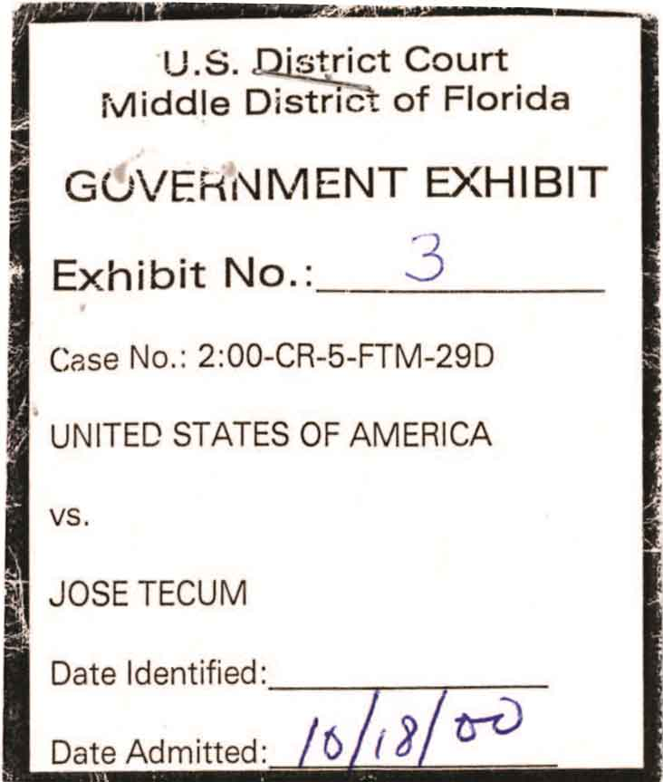 Government exhibit number three